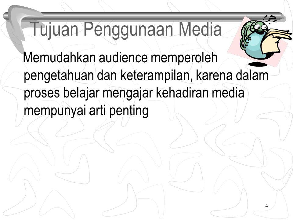 4 Tujuan Penggunaan Media Memudahkan audience memperoleh pengetahuan dan keterampilan, karena dalam proses belajar mengajar kehadiran media mempunyai arti penting