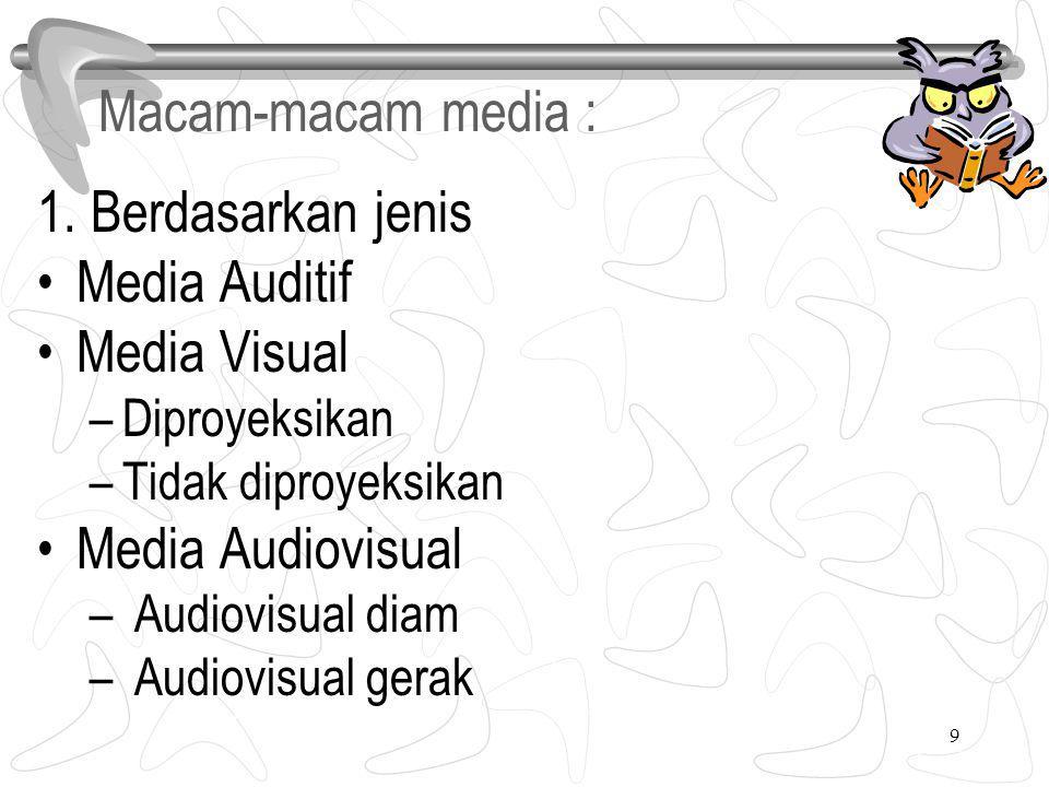 9 1. Berdasarkan jenis Media Auditif Media Visual –Diproyeksikan –Tidak diproyeksikan Media Audiovisual – Audiovisual diam – Audiovisual gerak Macam-m