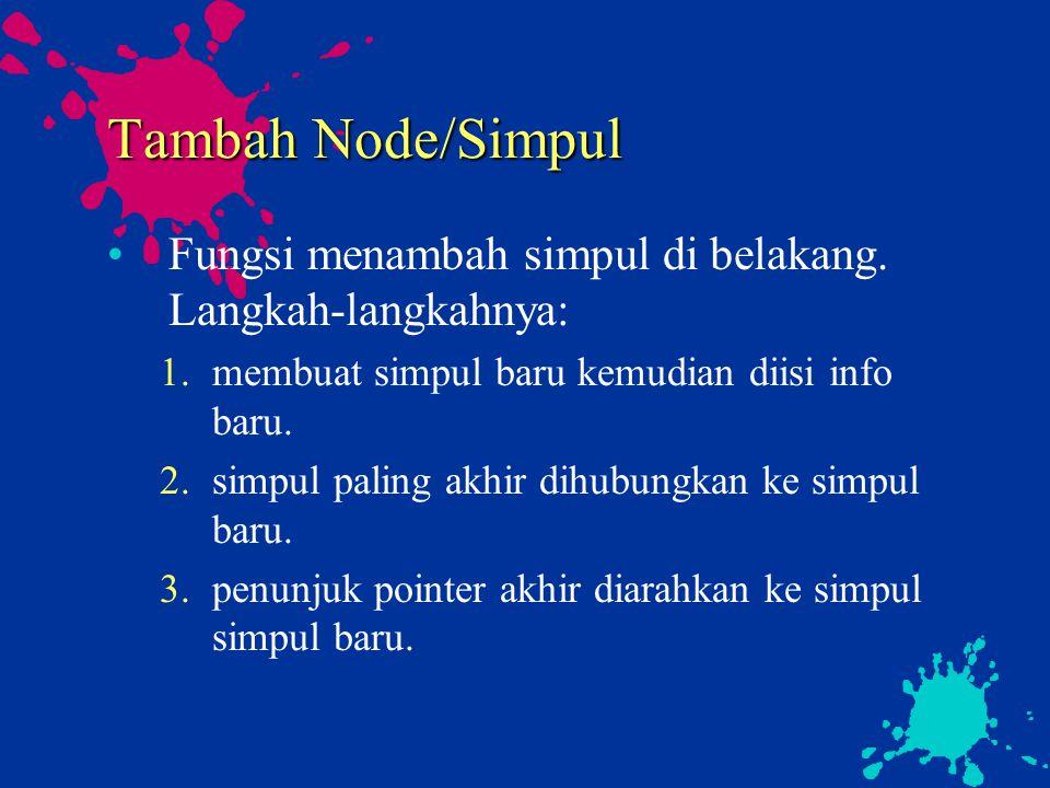 Tambah Node/Simpul Fungsi menambah simpul di belakang. Langkah-langkahnya: 1.membuat simpul baru kemudian diisi info baru. 2.simpul paling akhir dihub
