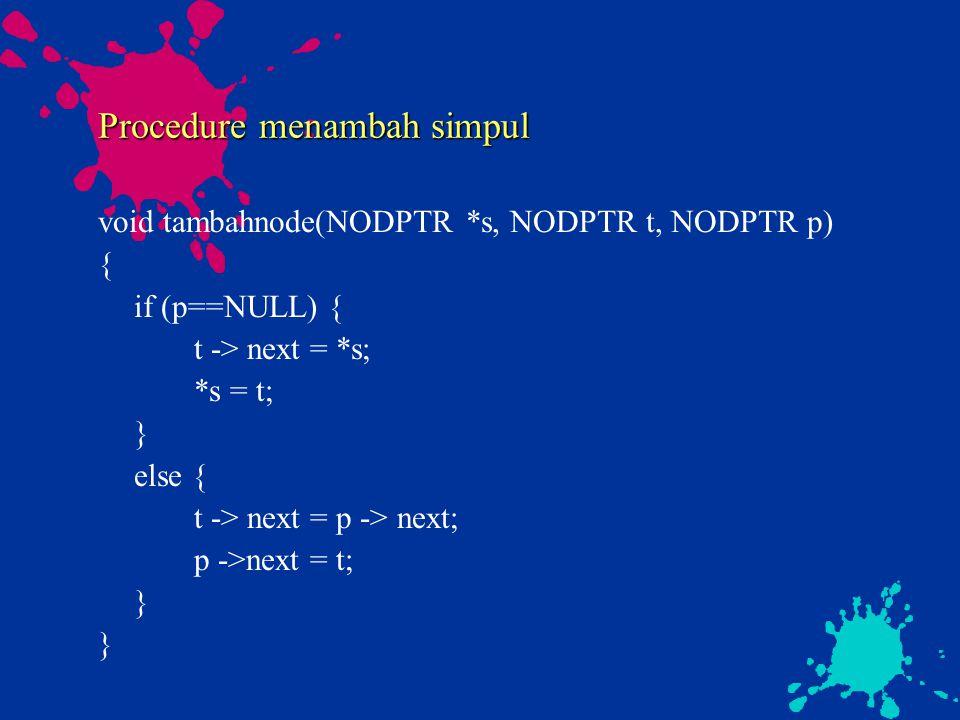 Procedure menambah simpul void tambahnode(NODPTR *s, NODPTR t, NODPTR p) { if (p==NULL) { t -> next = *s; *s = t; } else { t -> next = p -> next; p ->