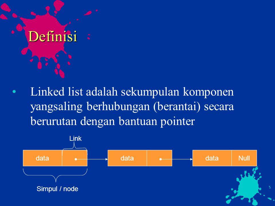 Definisi Linked list adalah sekumpulan komponen yangsaling berhubungan (berantai) secara berurutan dengan bantuan pointer data Nulldata Simpul / node