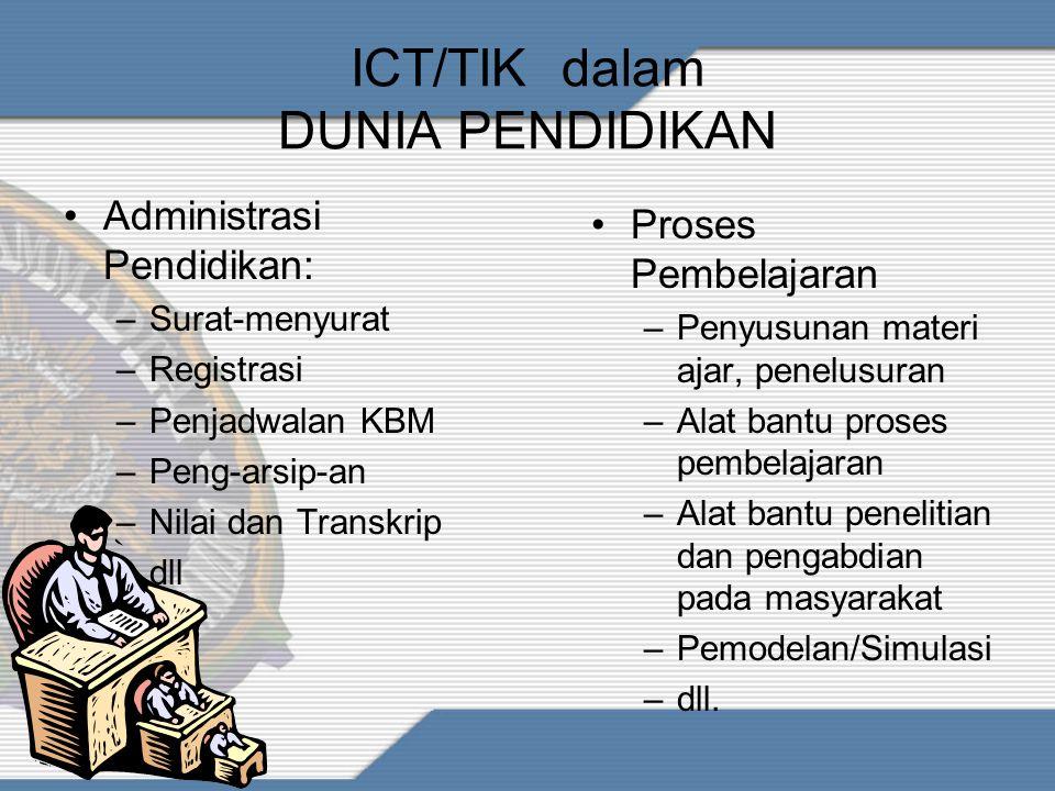ICT / E-LEARNING dlm Ruang Lingkup Pendidikan