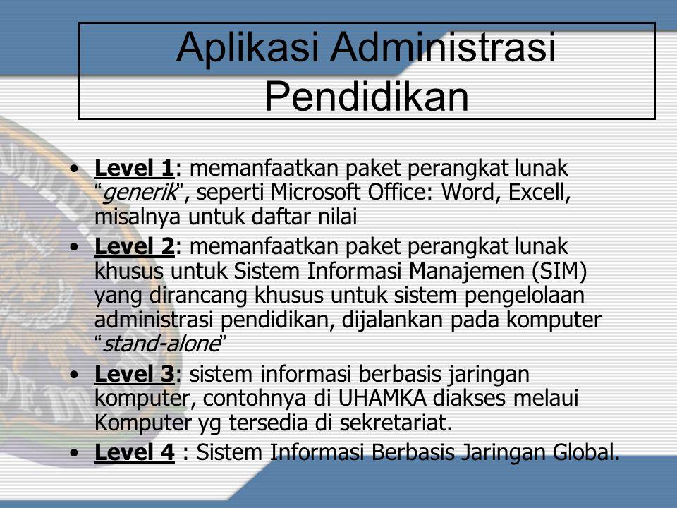 ICT/TIK dalam DUNIA PENDIDIKAN Administrasi Pendidikan: –Surat-menyurat –Registrasi –Penjadwalan KBM –Peng-arsip-an –Nilai dan Transkrip –dll Proses P