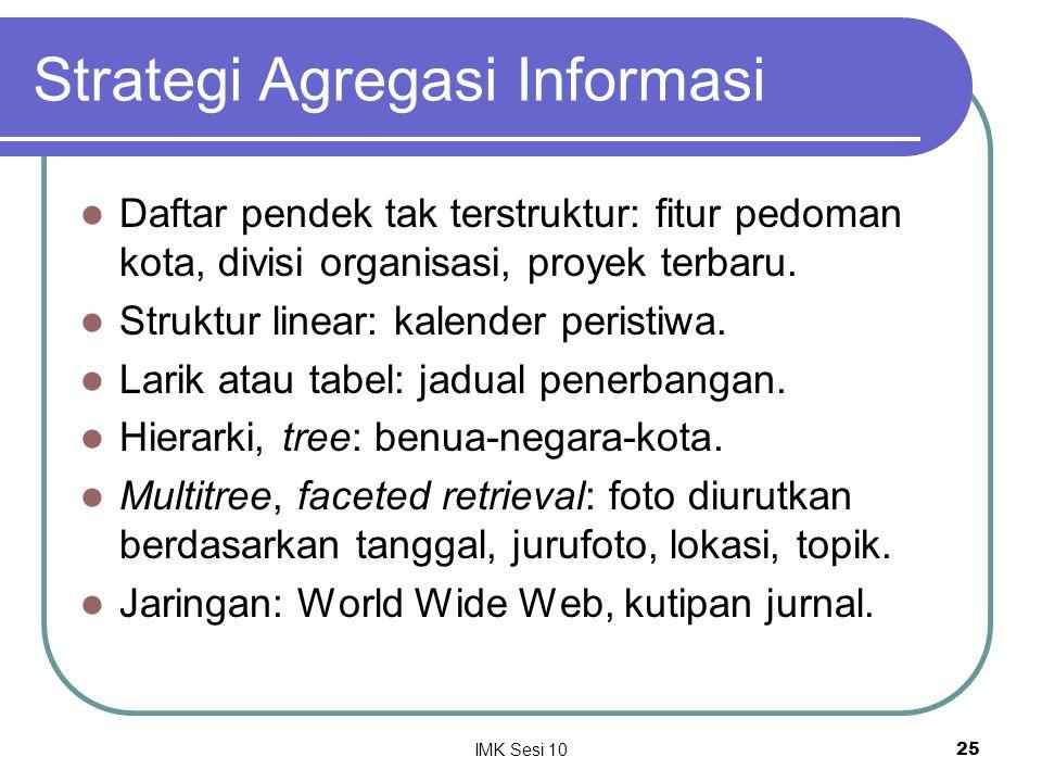 IMK Sesi 1025 Strategi Agregasi Informasi Daftar pendek tak terstruktur: fitur pedoman kota, divisi organisasi, proyek terbaru. Struktur linear: kalen