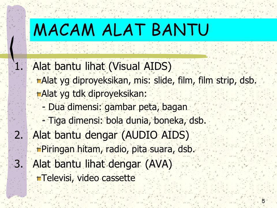 5 1.Alat bantu lihat (Visual AIDS) Alat yg diproyeksikan, mis: slide, film, film strip, dsb. Alat yg tdk diproyeksikan: - Dua dimensi: gambar peta, ba