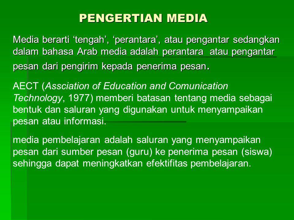 PENGERTIAN MEDIA Media berarti 'tengah', 'perantara', atau pengantar sedangkan dalam bahasa Arab media adalah perantara atau pengantar pesan dari peng