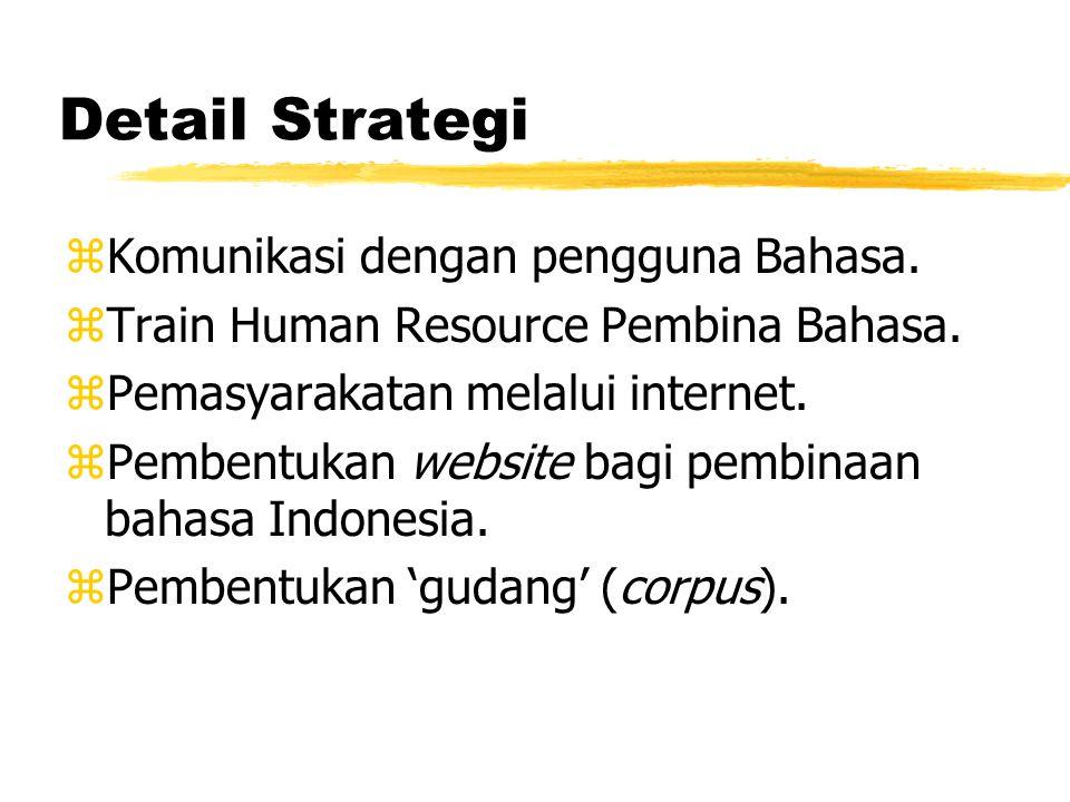 Detail Strategi zKomunikasi dengan pengguna Bahasa. zTrain Human Resource Pembina Bahasa. zPemasyarakatan melalui internet. zPembentukan website bagi