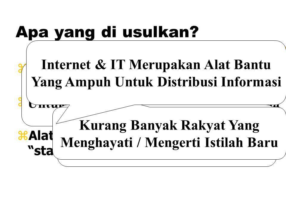"""Apa yang di usulkan? zMABBIM & Dewan Bahasa telah banyak berkarya. zTeknologi Informasi hanya alat bantu. zAlat yang digunakan tidak perlu """"state of t"""