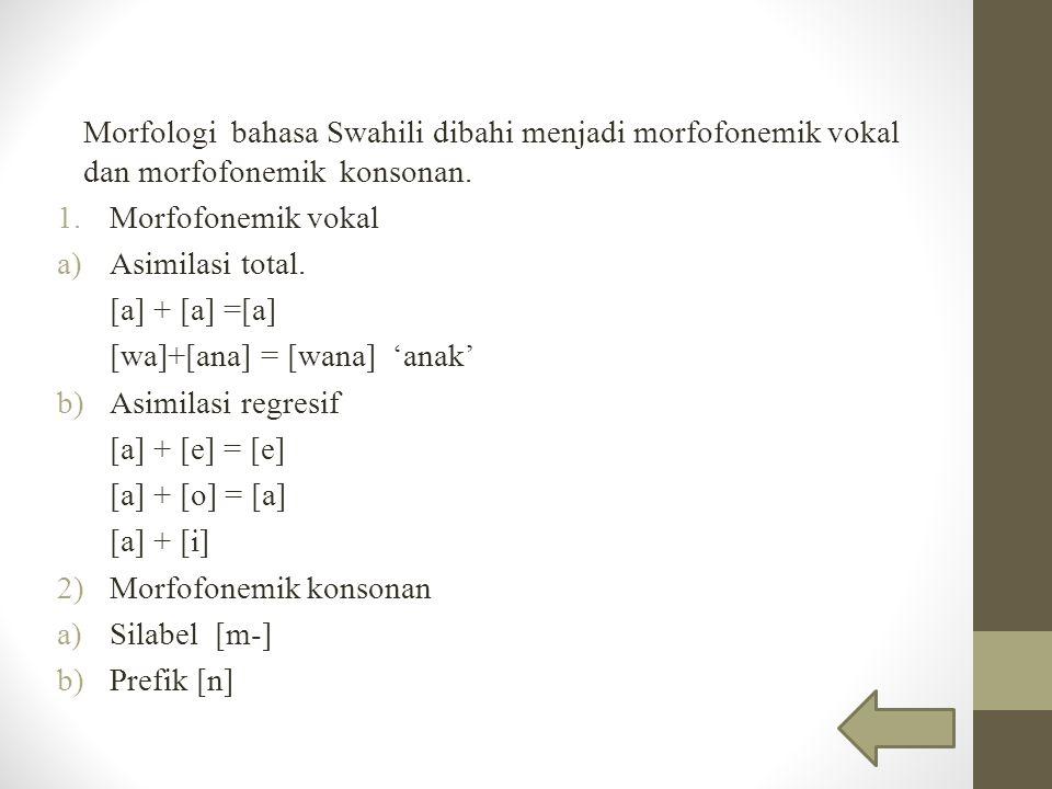 Morfologi bahasa Swahili dibahi menjadi morfofonemik vokal dan morfofonemik konsonan.