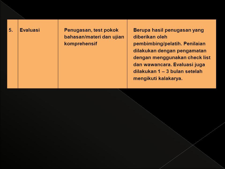 5.EvaluasiPenugasan, test pokok bahasan/materi dan ujian komprehensif Berupa hasil penugasan yang diberikan oleh pembimbing/pelatih. Penilaian dilakuk