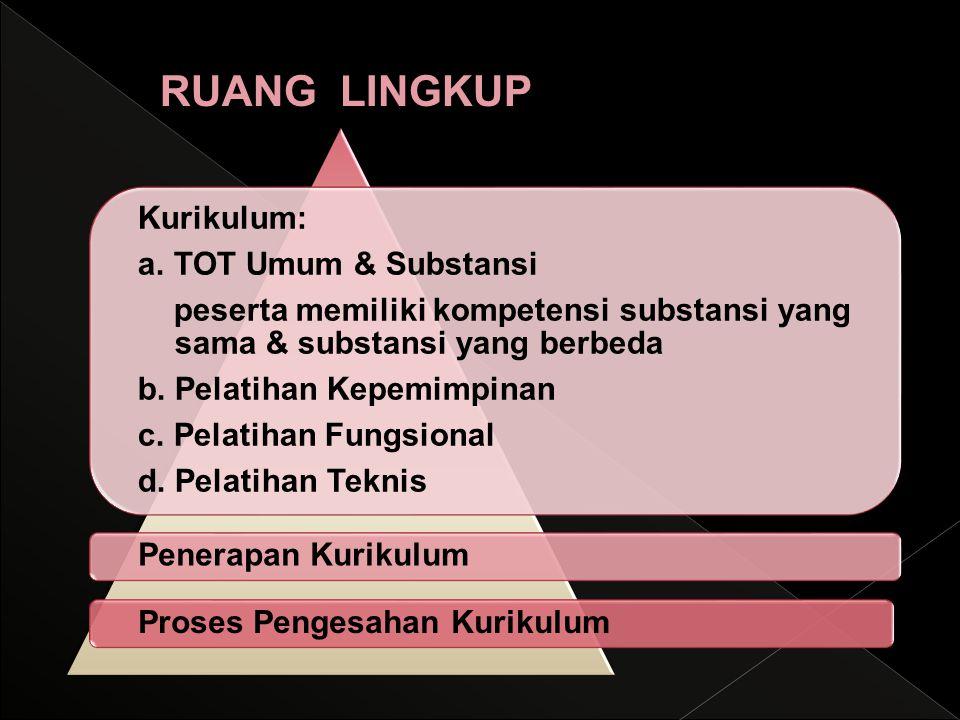 Kurikulum: a. TOT Umum & Substansi peserta memiliki kompetensi substansi yang sama & substansi yang berbeda b. Pelatihan Kepemimpinan c. Pelatihan Fun