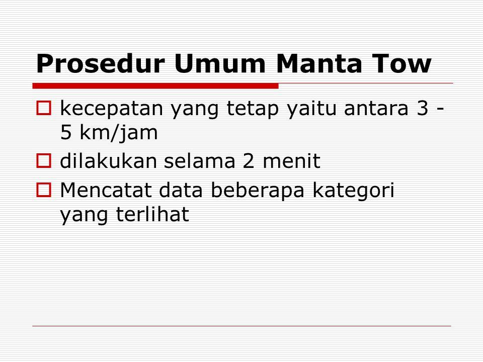 Prosedur Umum Manta Tow  kecepatan yang tetap yaitu antara 3 - 5 km/jam  dilakukan selama 2 menit  Mencatat data beberapa kategori yang terlihat