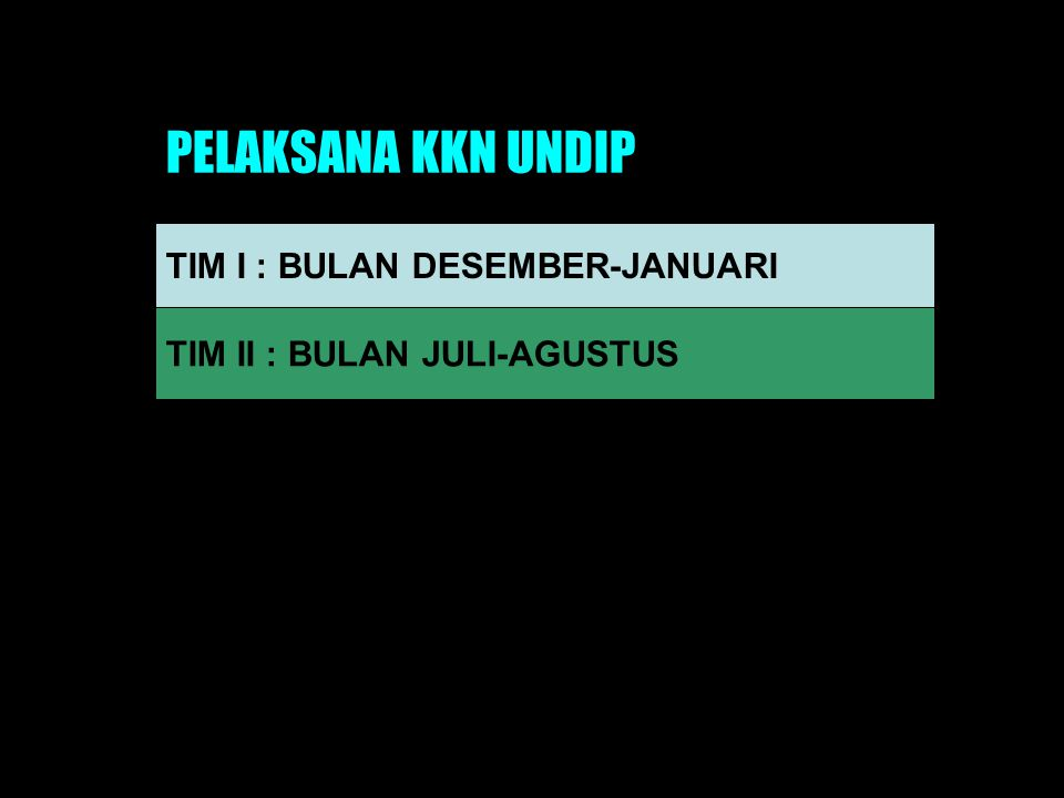 PELAKSANA KKN UNDIP TIM I : BULAN DESEMBER-JANUARI TIM II : BULAN JULI-AGUSTUS