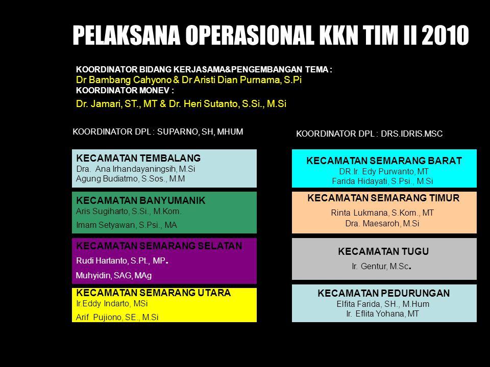 PELAKSANA OPERASIONAL KKN TIM II 2010 KECAMATAN TEMBALANG Dra. Ana Irhandayaningsih, M.Si Agung Budiatmo, S.Sos., M.M KECAMATAN BANYUMANIK Aris Sugiha