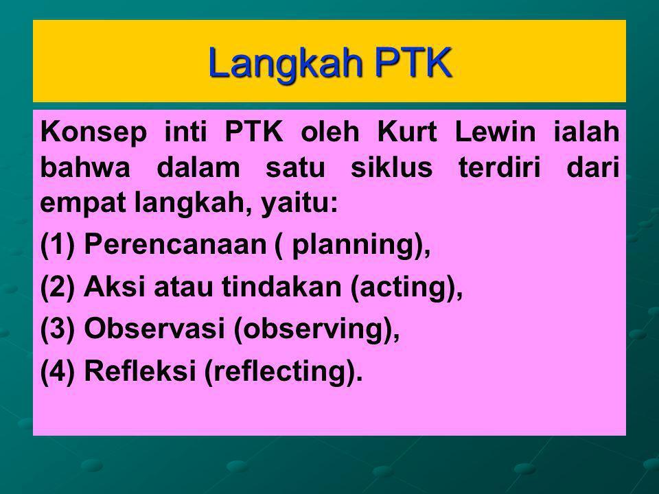 Langkah PTK Konsep inti PTK oleh Kurt Lewin ialah bahwa dalam satu siklus terdiri dari empat langkah, yaitu: (1) (1) Perencanaan ( planning), (2) (2) Aksi atau tindakan (acting), (3) (3) Observasi (observing), (4) (4) Refleksi (reflecting).