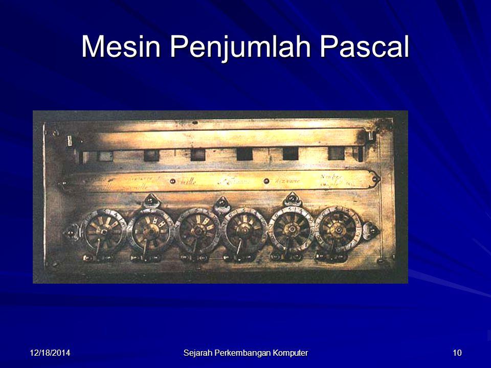 12/18/2014 Sejarah Perkembangan Komputer 11 Susunan Roda Gigi