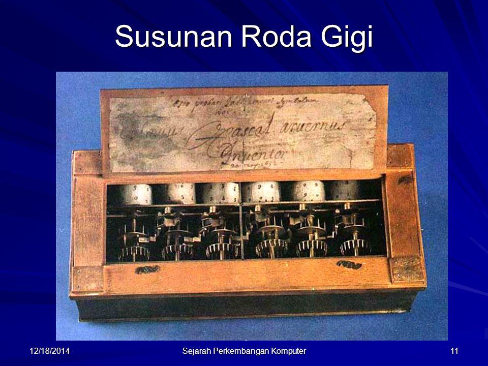 12/18/2014 Sejarah Perkembangan Komputer 12 Jacquard Pada tahun 1801 Joseph Marie Jacquard dari Perancis mengembangkan mesin tenun yang pola tenunnya disimpan menggunakan kartu dari kayu yang berlubang (yang kemudian dikenal dengan punch card).