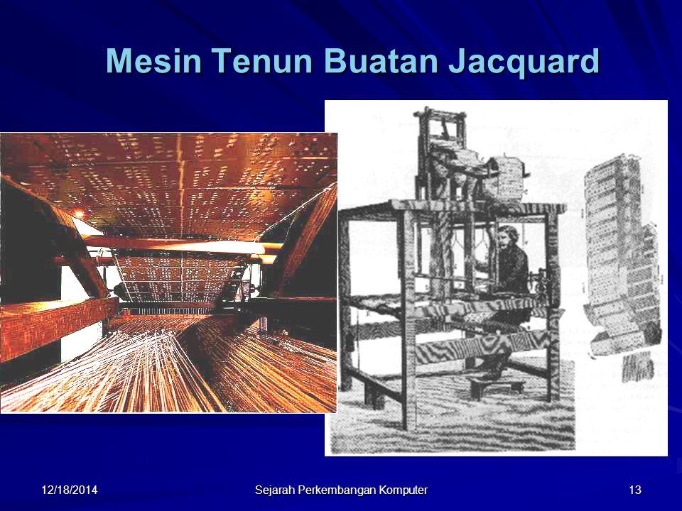 12/18/2014 Sejarah Perkembangan Komputer 13 Mesin Tenun Buatan Jacquard