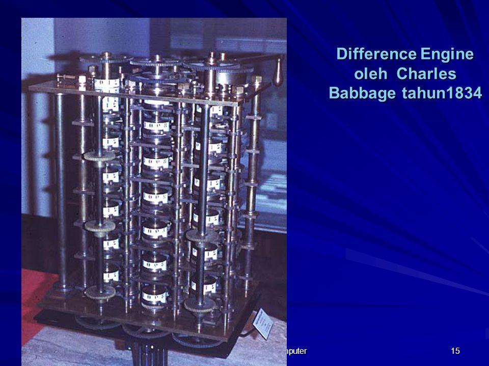 12/18/2014 Sejarah Perkembangan Komputer 15 Difference Engine oleh Charles Babbage tahun1834