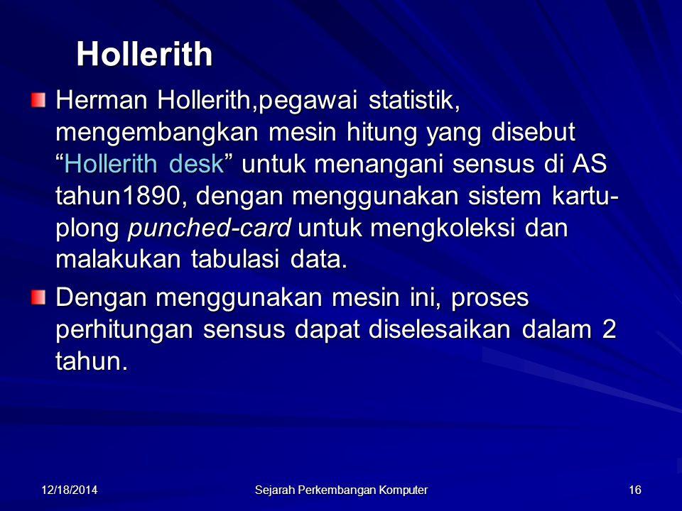 """12/18/2014 Sejarah Perkembangan Komputer 16 Hollerith Herman Hollerith,pegawai statistik, mengembangkan mesin hitung yang disebut """"Hollerith desk"""" unt"""
