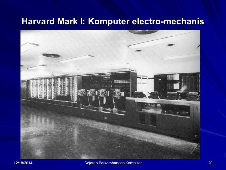 12/18/2014 Sejarah Perkembangan Komputer 21 Merupakan komputer digital terprogram pertama yang ada di Amerika, tahun 1944.