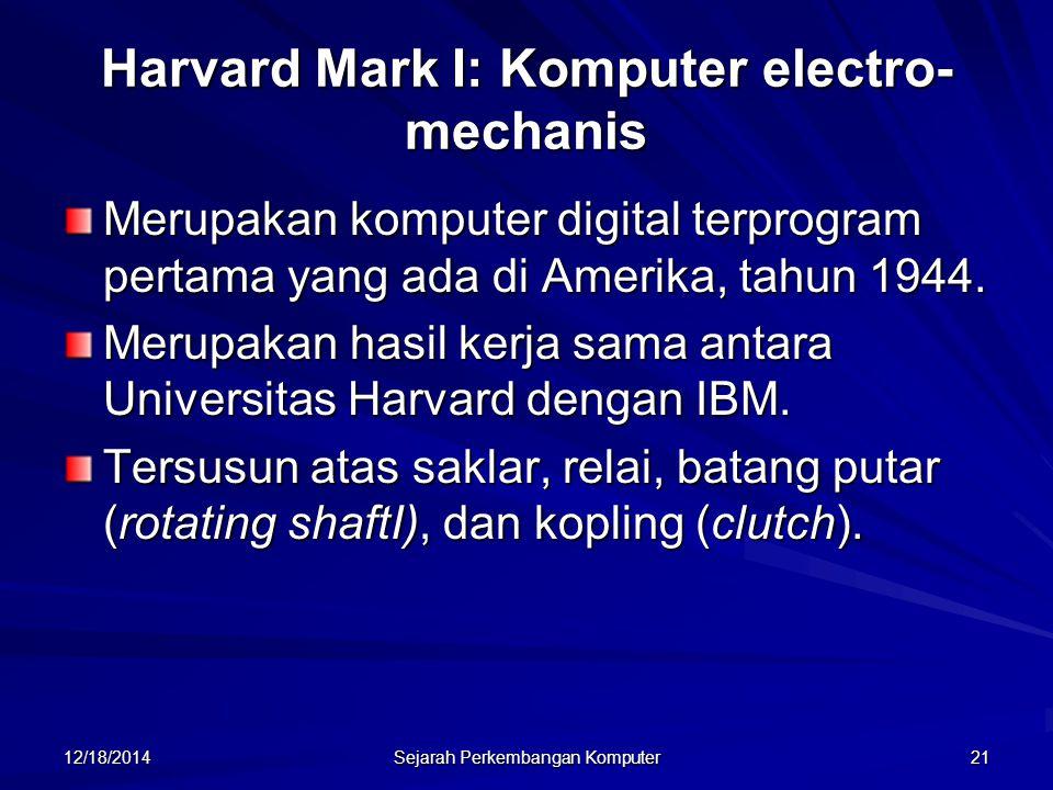12/18/2014 Sejarah Perkembangan Komputer 21 Merupakan komputer digital terprogram pertama yang ada di Amerika, tahun 1944. Merupakan hasil kerja sama