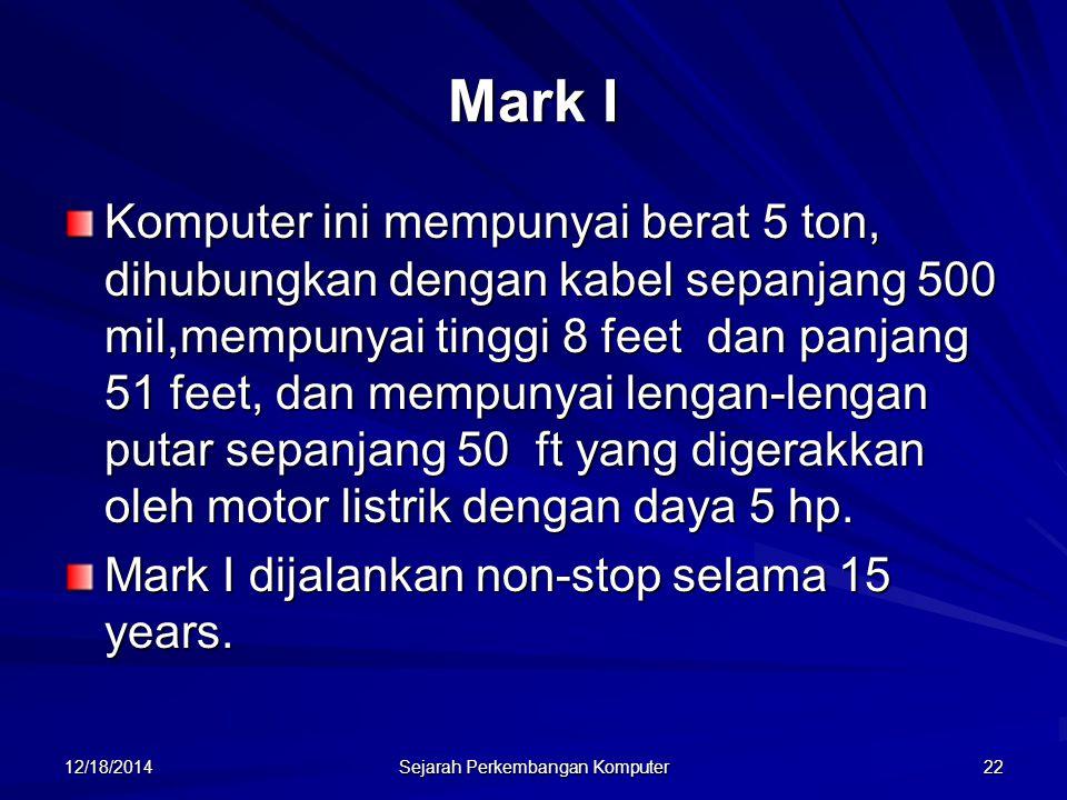 12/18/2014 Sejarah Perkembangan Komputer 22 Mark I Komputer ini mempunyai berat 5 ton, dihubungkan dengan kabel sepanjang 500 mil,mempunyai tinggi 8 f
