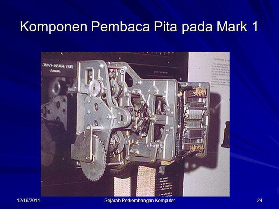 12/18/2014 Sejarah Perkembangan Komputer 24 Komponen Pembaca Pita pada Mark 1