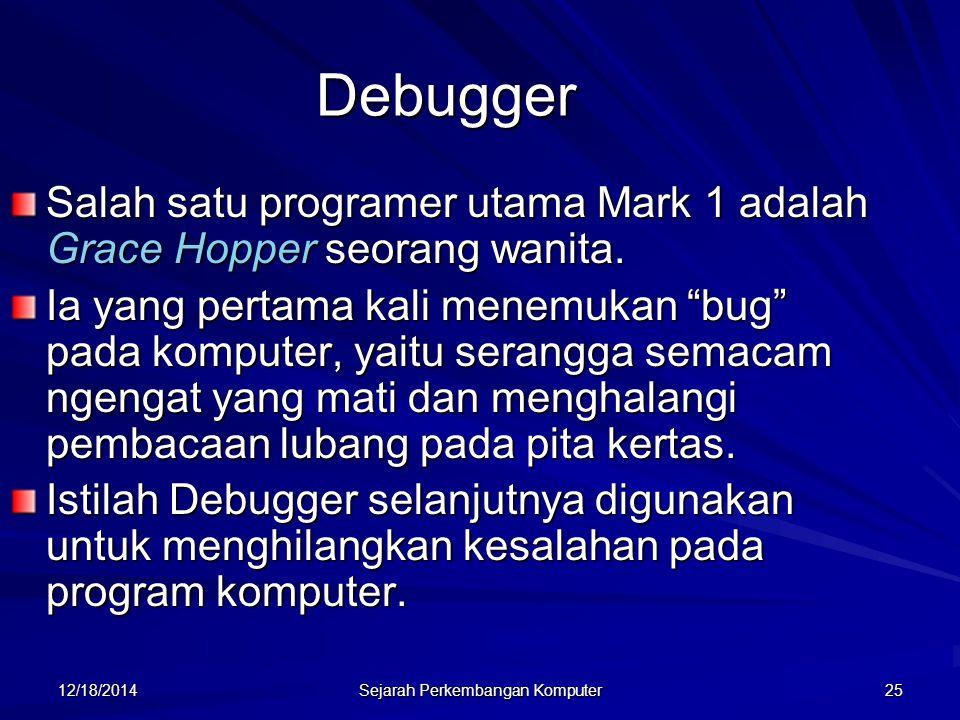 12/18/2014 Sejarah Perkembangan Komputer 25 Debugger Salah satu programer utama Mark 1 adalah Grace Hopper seorang wanita. Ia yang pertama kali menemu
