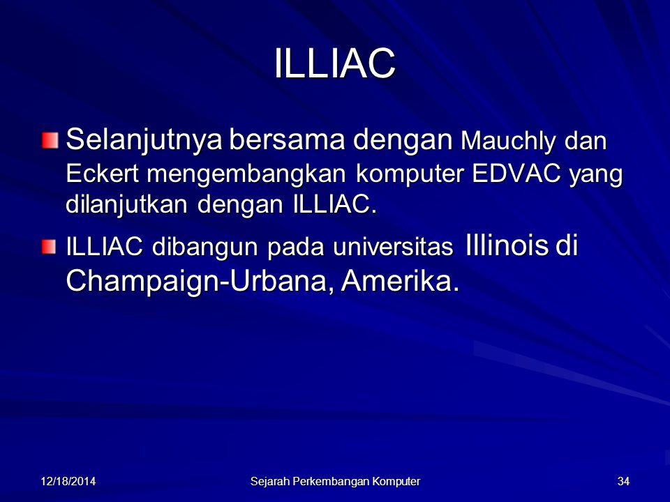12/18/2014 Sejarah Perkembangan Komputer 34 ILLIAC Selanjutnya bersama dengan Mauchly dan Eckert mengembangkan komputer EDVAC yang dilanjutkan dengan