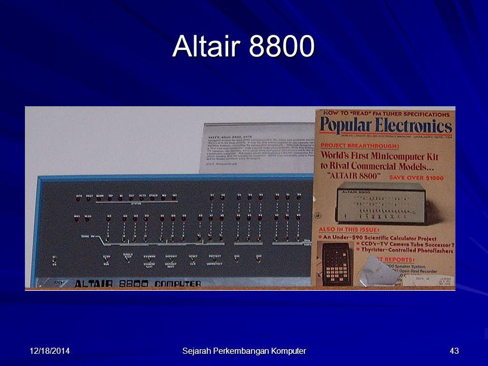 12/18/2014 Sejarah Perkembangan Komputer 43 Altair 8800