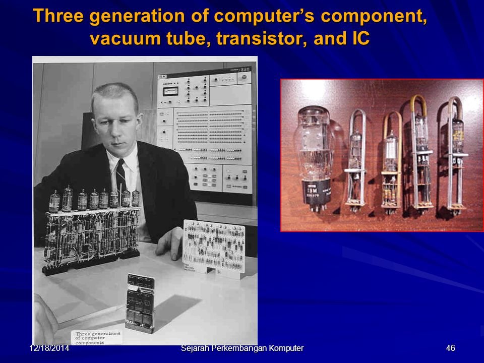 12/18/2014 Sejarah Perkembangan Komputer 46 Three generation of computer's component, vacuum tube, transistor, and IC