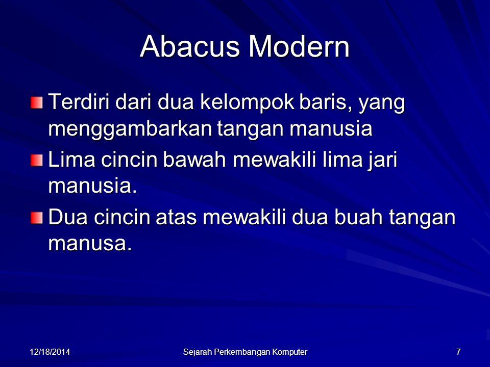 12/18/2014 Sejarah Perkembangan Komputer 8 Abcus Modern