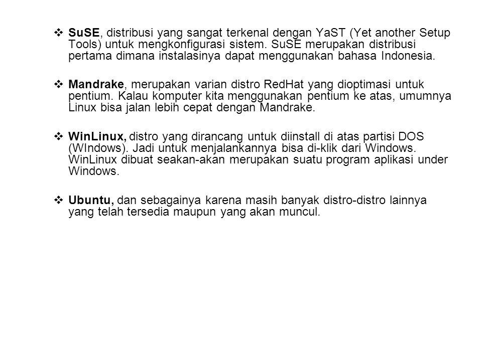 STRUKTUR DIREKTORI LINUX Direktori root Linux memiliki beberapa direktori yang merupakan standar direktori pada banyak distro Linux.