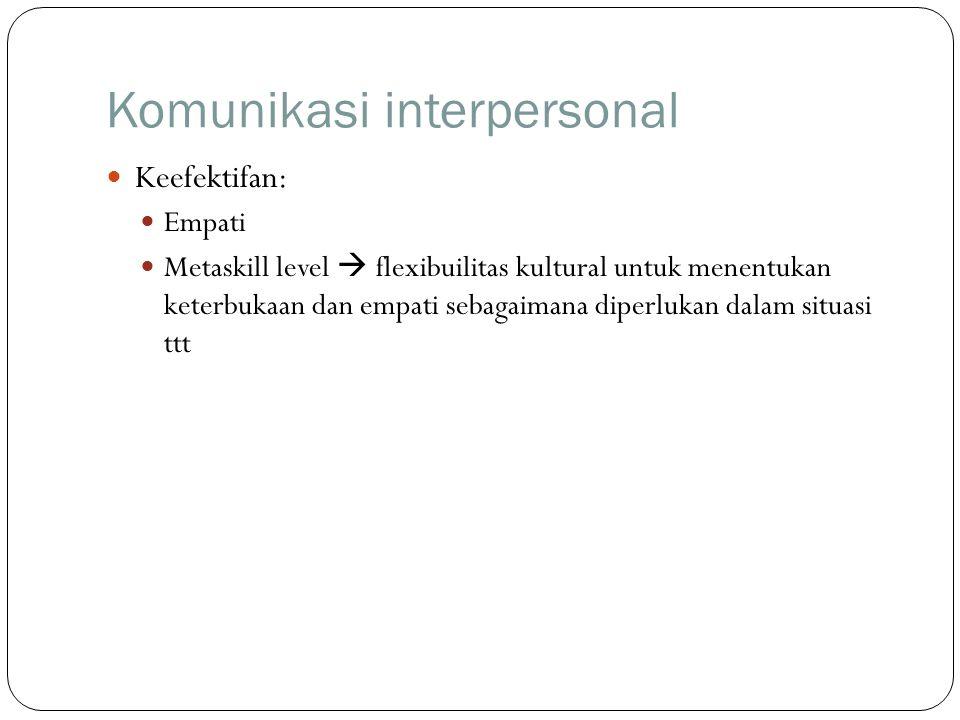 Komunikasi interpersonal Keefektifan: Empati Metaskill level  flexibuilitas kultural untuk menentukan keterbukaan dan empati sebagaimana diperlukan dalam situasi ttt