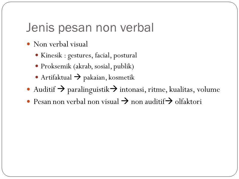 Jenis pesan non verbal Non verbal visual Kinesik : gestures, facial, postural Proksemik (akrab, sosial, publik) Artifaktual  pakaian, kosmetik Auditif  paralinguistik  intonasi, ritme, kualitas, volume Pesan non verbal non visual  non auditif  olfaktori
