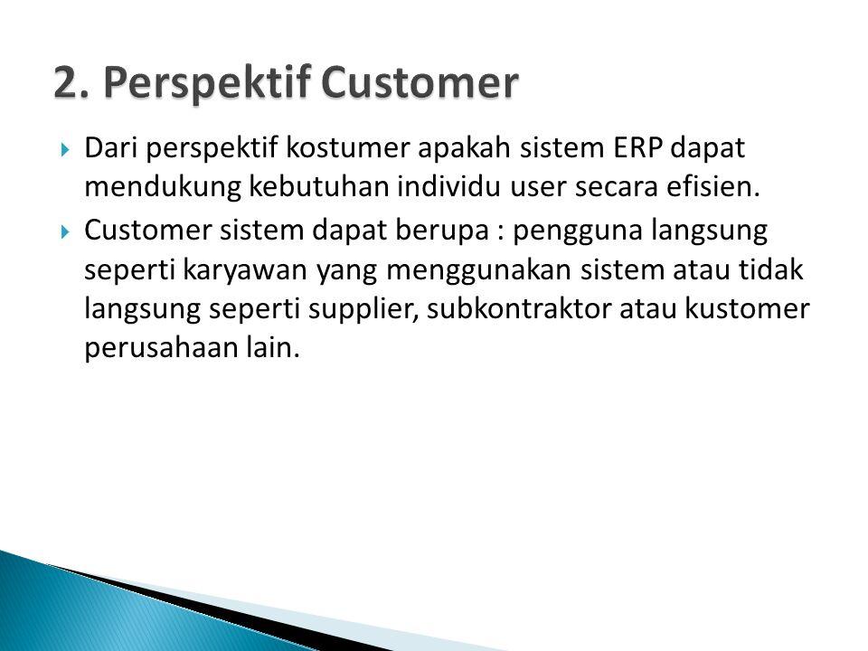  Dari perspektif kostumer apakah sistem ERP dapat mendukung kebutuhan individu user secara efisien.