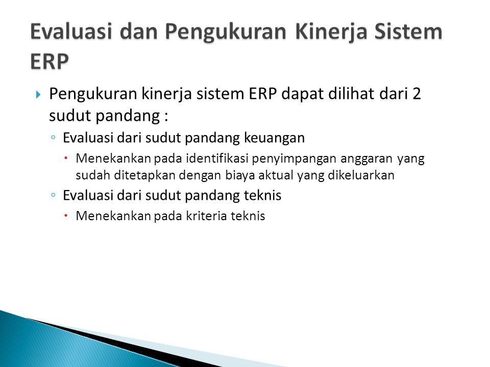  Pengukuran kinerja sistem ERP dapat dilihat dari 2 sudut pandang : ◦ Evaluasi dari sudut pandang keuangan  Menekankan pada identifikasi penyimpangan anggaran yang sudah ditetapkan dengan biaya aktual yang dikeluarkan ◦ Evaluasi dari sudut pandang teknis  Menekankan pada kriteria teknis