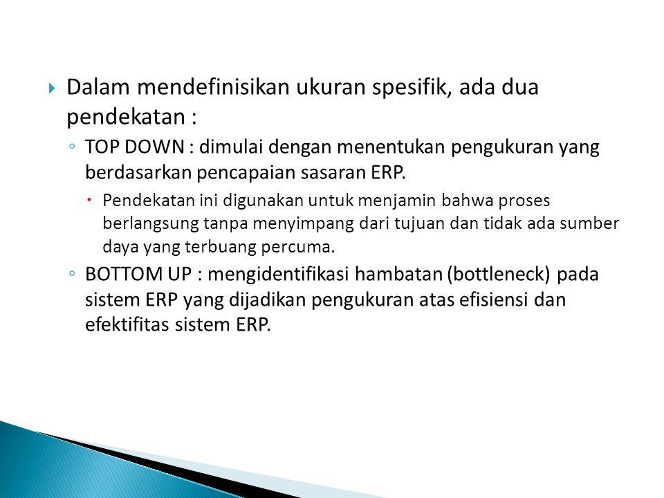  Dalam mendefinisikan ukuran spesifik, ada dua pendekatan : ◦ TOP DOWN : dimulai dengan menentukan pengukuran yang berdasarkan pencapaian sasaran ERP.
