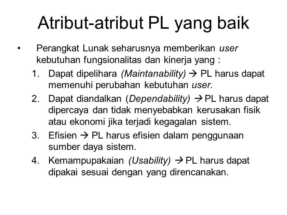 Atribut-atribut PL yang baik Perangkat Lunak seharusnya memberikan user kebutuhan fungsionalitas dan kinerja yang : 1.Dapat dipelihara (Maintanability