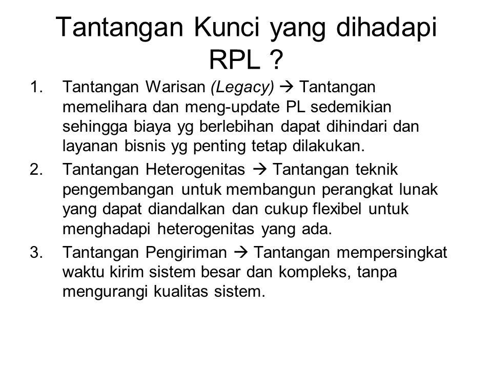 Tantangan Kunci yang dihadapi RPL ? 1.Tantangan Warisan (Legacy)  Tantangan memelihara dan meng-update PL sedemikian sehingga biaya yg berlebihan dap