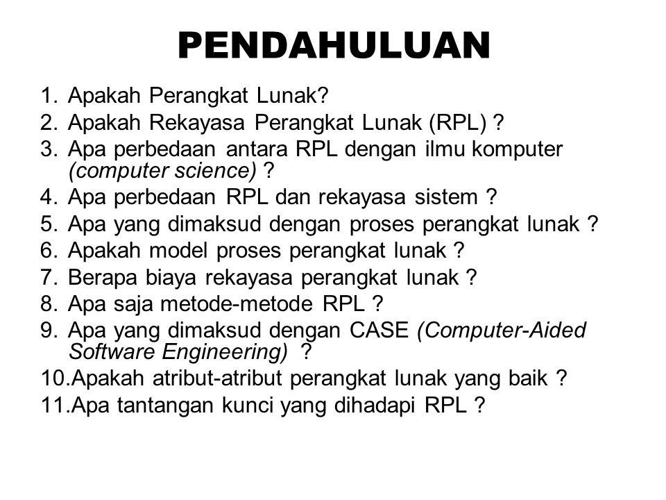 PENDAHULUAN 1.Apakah Perangkat Lunak? 2.Apakah Rekayasa Perangkat Lunak (RPL) ? 3.Apa perbedaan antara RPL dengan ilmu komputer (computer science) ? 4