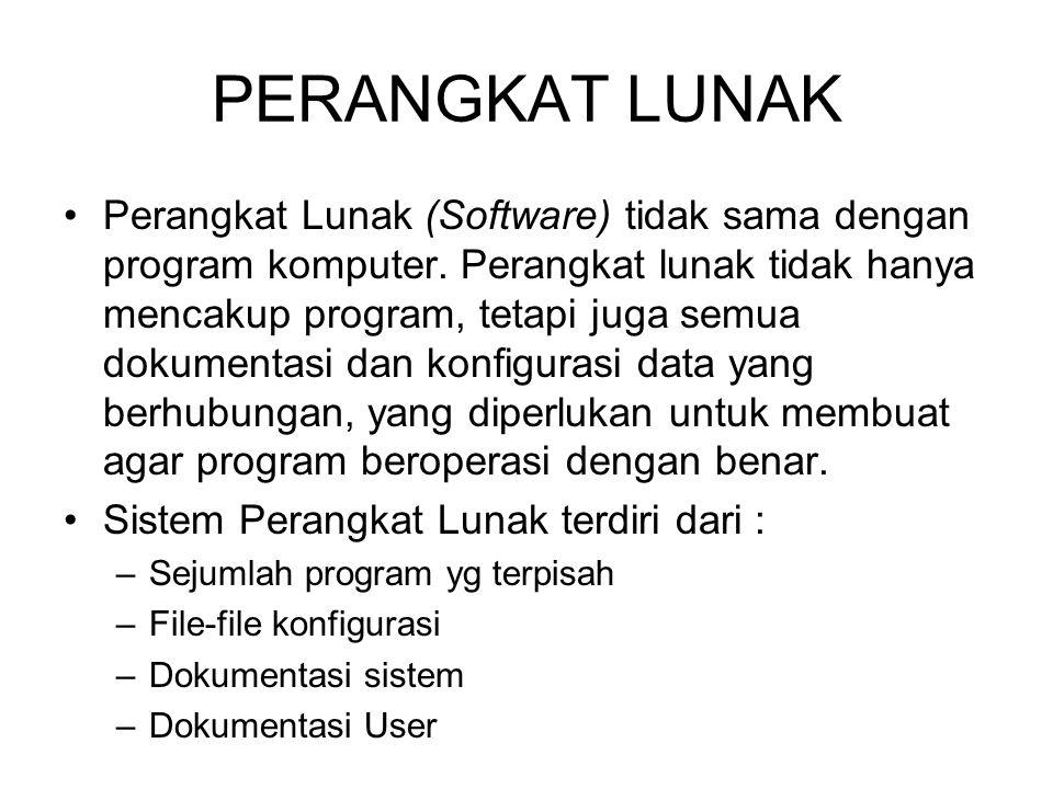 PERANGKAT LUNAK Perangkat Lunak (Software) tidak sama dengan program komputer. Perangkat lunak tidak hanya mencakup program, tetapi juga semua dokumen
