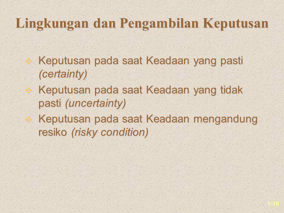 1-18 Lingkungan dan Pengambilan Keputusan v Keputusan pada saat Keadaan yang pasti (certainty) v Keputusan pada saat Keadaan yang tidak pasti (uncertainty) v Keputusan pada saat Keadaan mengandung resiko (risky condition)