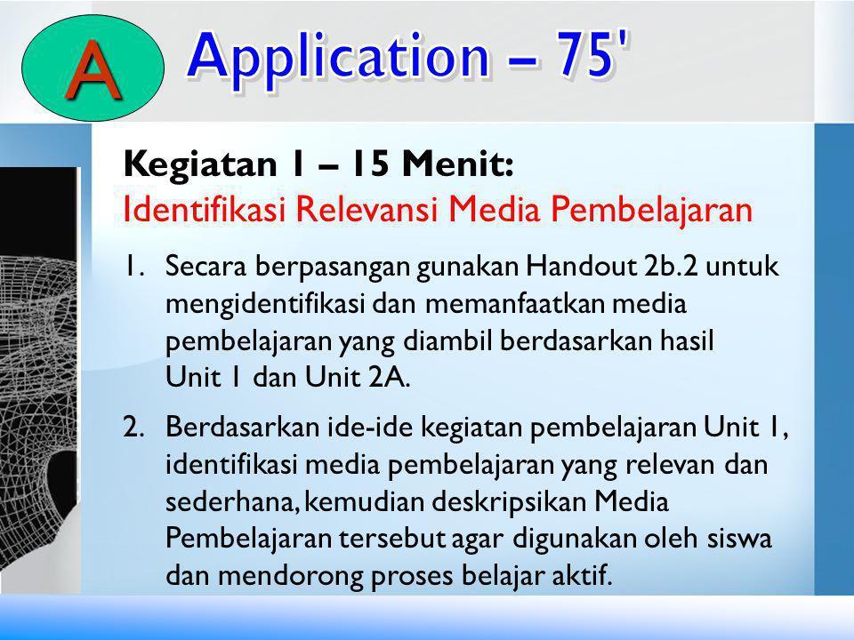 Kegiatan 1 – 15 Menit: Identifikasi Relevansi Media Pembelajaran 1.Secara berpasangan gunakan Handout 2b.2 untuk mengidentifikasi dan memanfaatkan med