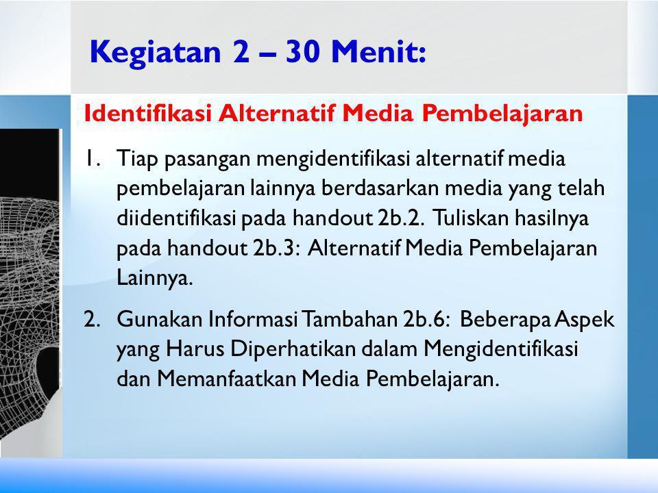 Identifikasi Alternatif Media Pembelajaran 1.Tiap pasangan mengidentifikasi alternatif media pembelajaran lainnya berdasarkan media yang telah diident