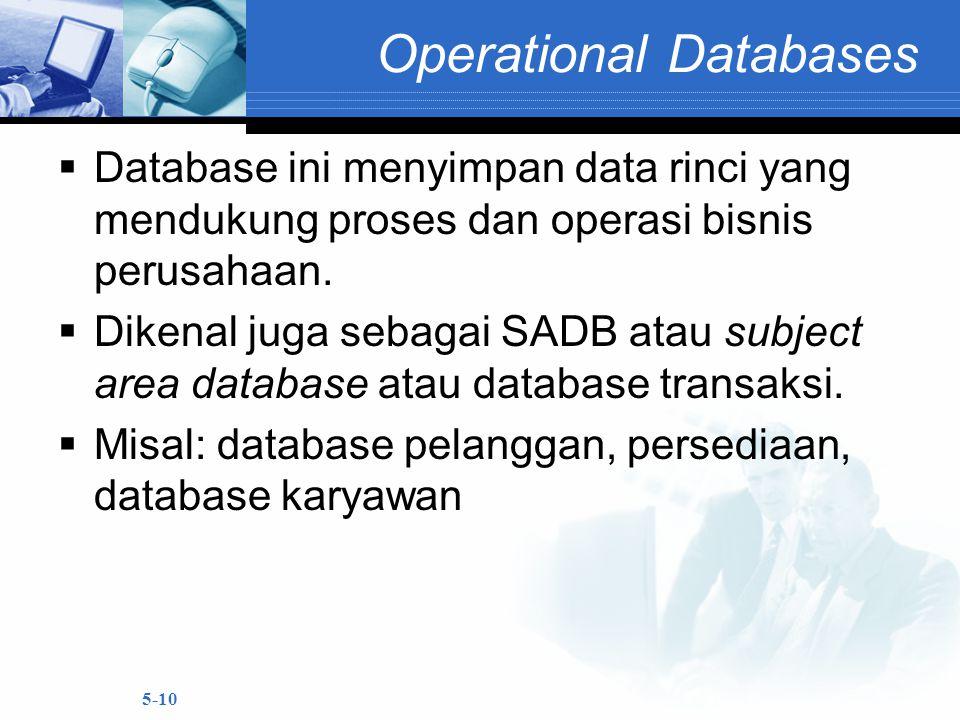 5-10 Operational Databases  Database ini menyimpan data rinci yang mendukung proses dan operasi bisnis perusahaan.  Dikenal juga sebagai SADB atau s