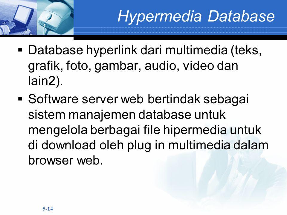 5-14 Hypermedia Database  Database hyperlink dari multimedia (teks, grafik, foto, gambar, audio, video dan lain2).  Software server web bertindak se