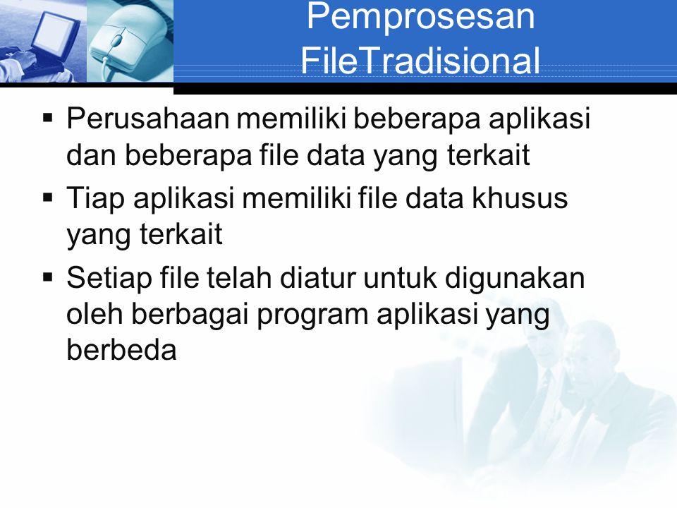 Pemprosesan FileTradisional  Perusahaan memiliki beberapa aplikasi dan beberapa file data yang terkait  Tiap aplikasi memiliki file data khusus yang