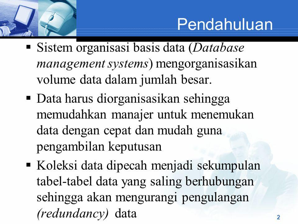 Pendahuluan  Sistem organisasi basis data (Database management systems) mengorganisasikan volume data dalam jumlah besar.  Data harus diorganisasika
